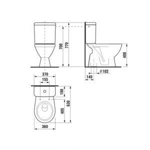 Pack wc Lyra Plus 3/6L Sortie Verticale